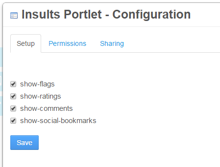 Figure 1: Configurable portlet preferences give you fine-grained control over specific features in your portlet.