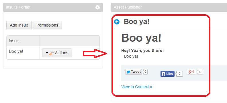 Figure 1: It can be useful to show custom entities, like this example insult entity, in a JSP or in an Asset Publisher.