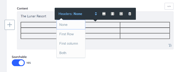 Figure 4: The table Styles toolbar lets you format tables in the editor.