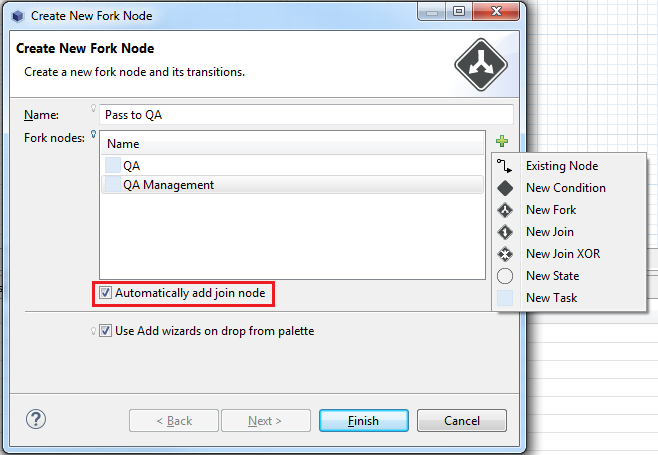 Figure 4: You can select what to fork and whether to automatically create a join node.