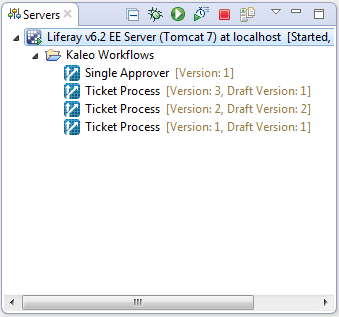 Figure 1: In Studios Servers view, your servers Kaleo Workflows folder shows workflows published on your portal.