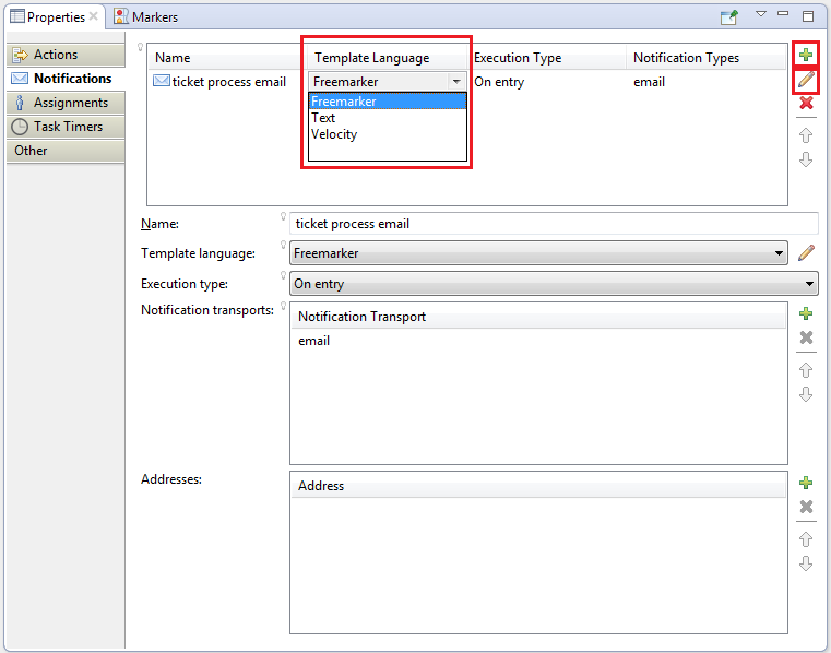 Figure 1: When creating a notification, Developer Studio offers several options, like choosing  a template language.