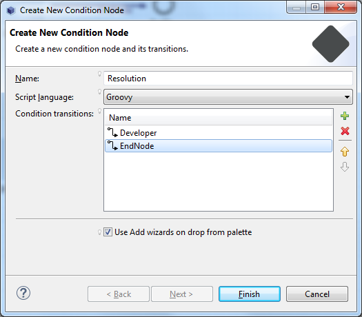 Figure 1: When creating a condition node, you can set your preferred script language, name, and condition transitions.