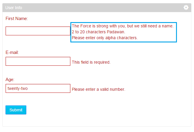 Figure 2: Here, the AUI form validator is used to display multiple custom validation messages for an input field.