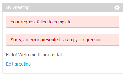 Figure 3: The sample My Greeting portlet shows an error message on failure to process the portlet action.