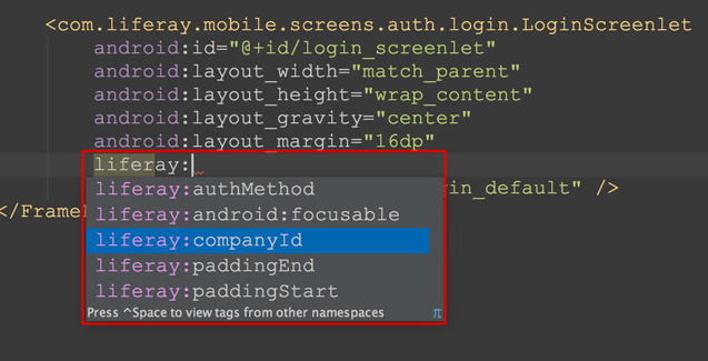 Figure 2: You can set a Screenlets attributes via the apps layout XML file.