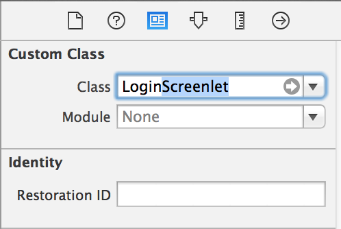 Figure 2: Change the Custom Class to match the Screenlet.