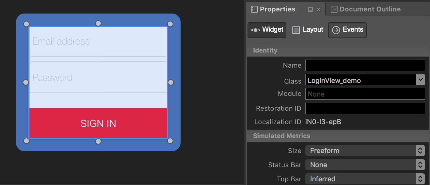 Figure 1: Set new View class in XIB Theme file.