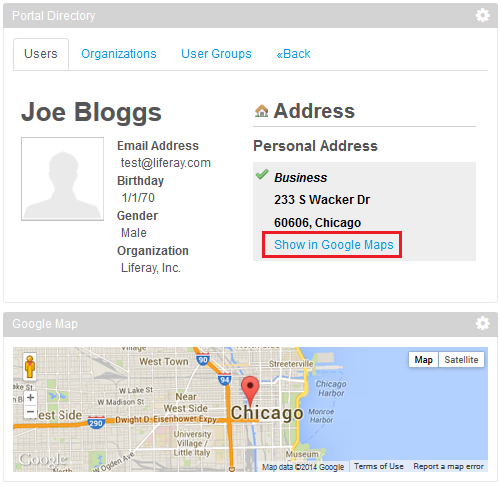 Figure 3: The modified Portal Directory portlet sends the users address to the Google Map gadget to display.