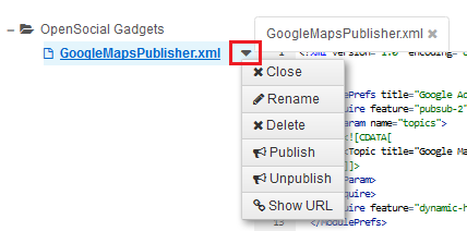 Figure 1: The drop-down menu can be easily found to the right of your XML file.