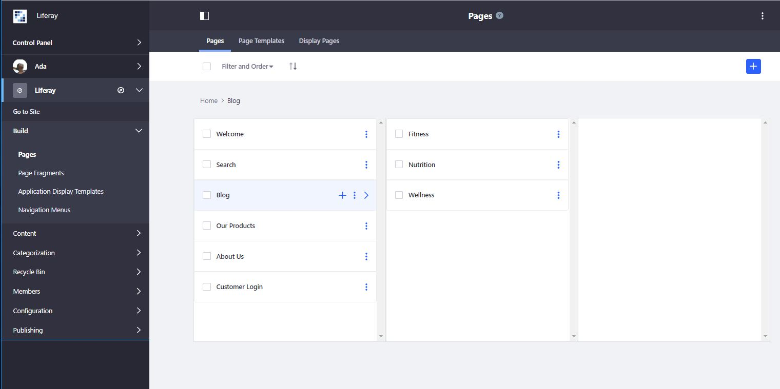 Figure 9: The new page management interface puts all page functions in one place.