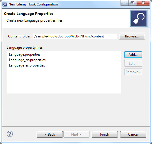 Figure 3: The Liferay Hook Configuration wizard lets you specify any language properties files to customize.