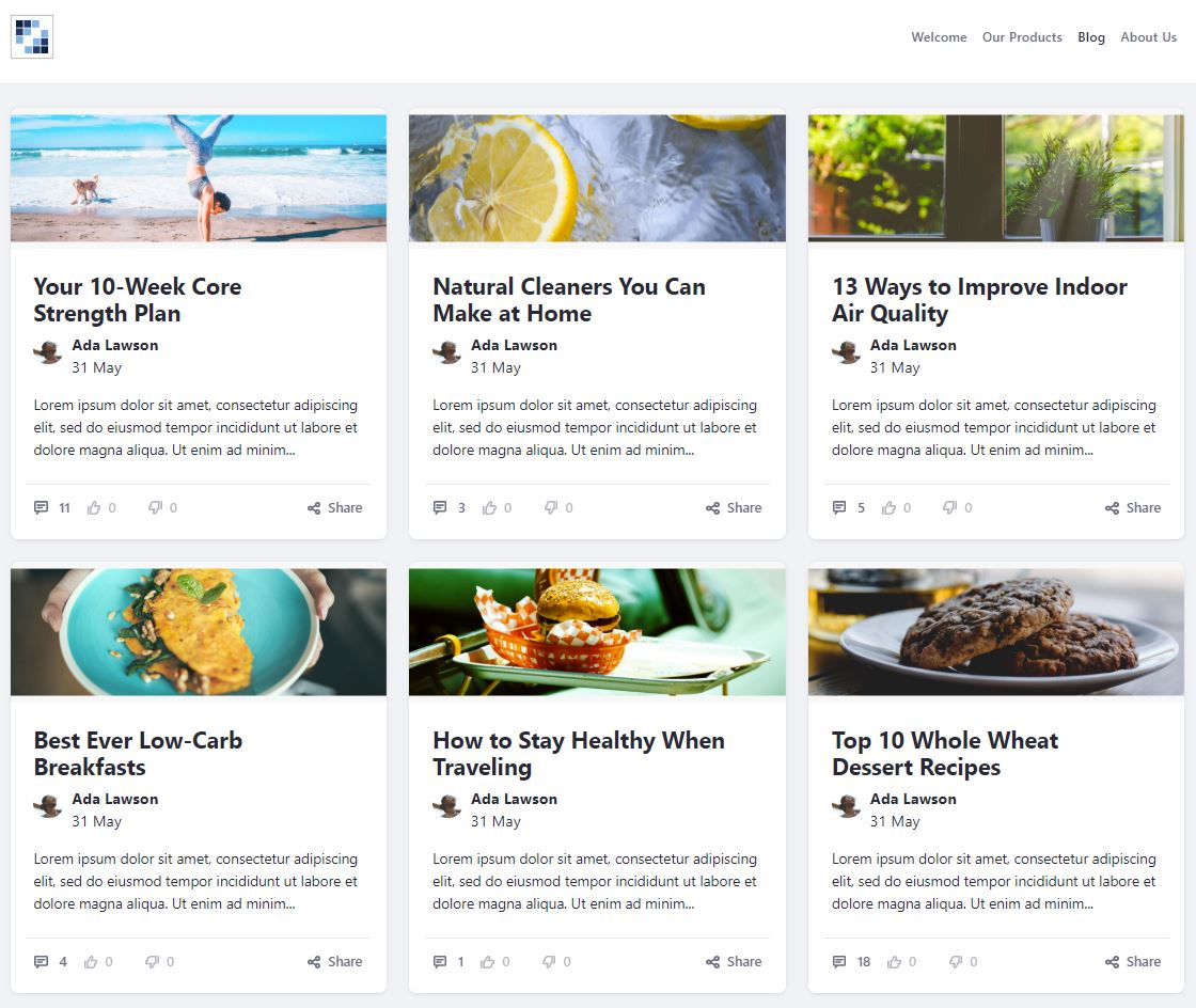 Figure 7: The new cards design for blogs displays entries in a visual grid.
