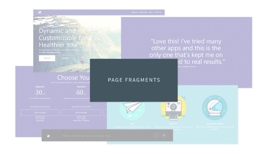 Figure 2: Non-technical users can use Fragments as building blocks for pages.