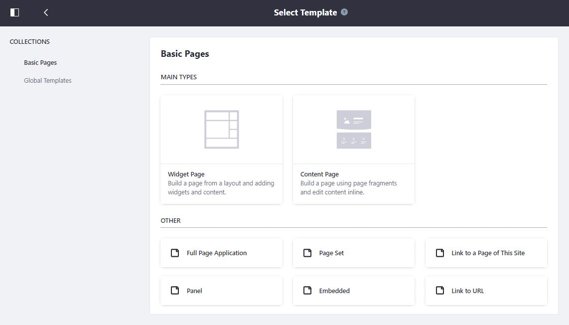 Figure 1: Users can now choose to create Content Pages.