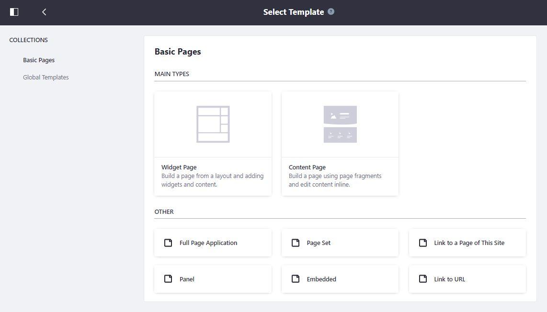 図1:ユーザーはコンテンツページの作成を選択できるようになりました。