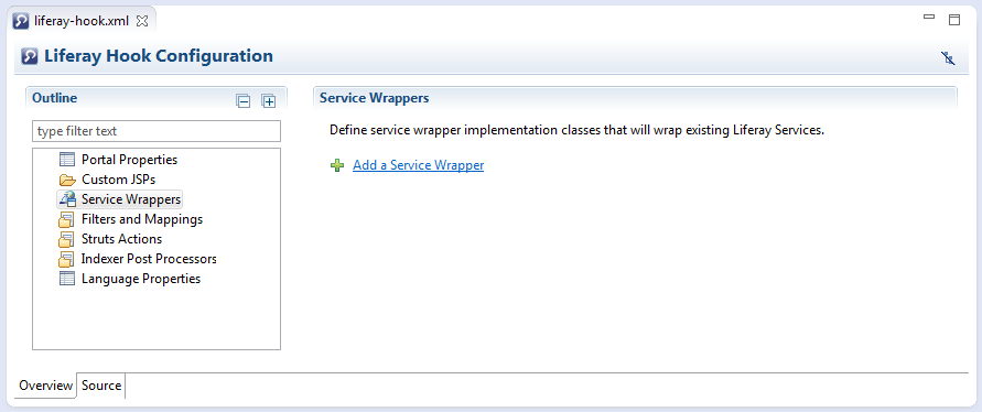 Figure 1: Liferay IDEs Hook Configuration editor comes with custom service wrapper creation and editing capabilities.