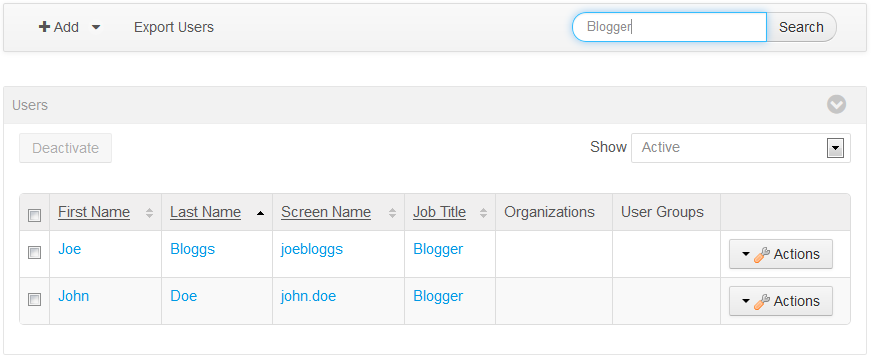 Figure 2: By extending the indexer post processor for a model entity, you can search for instances of that model based on the fields you add to the indexer post processor. In this example, you extended the User entitys search index to include Job Title so you could search for users by job title (e.g., Blogger).