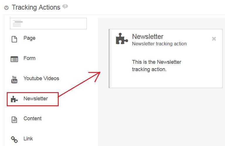 Figure 1: You can add your new tracking action to the form, but it doesnt do anything yet.