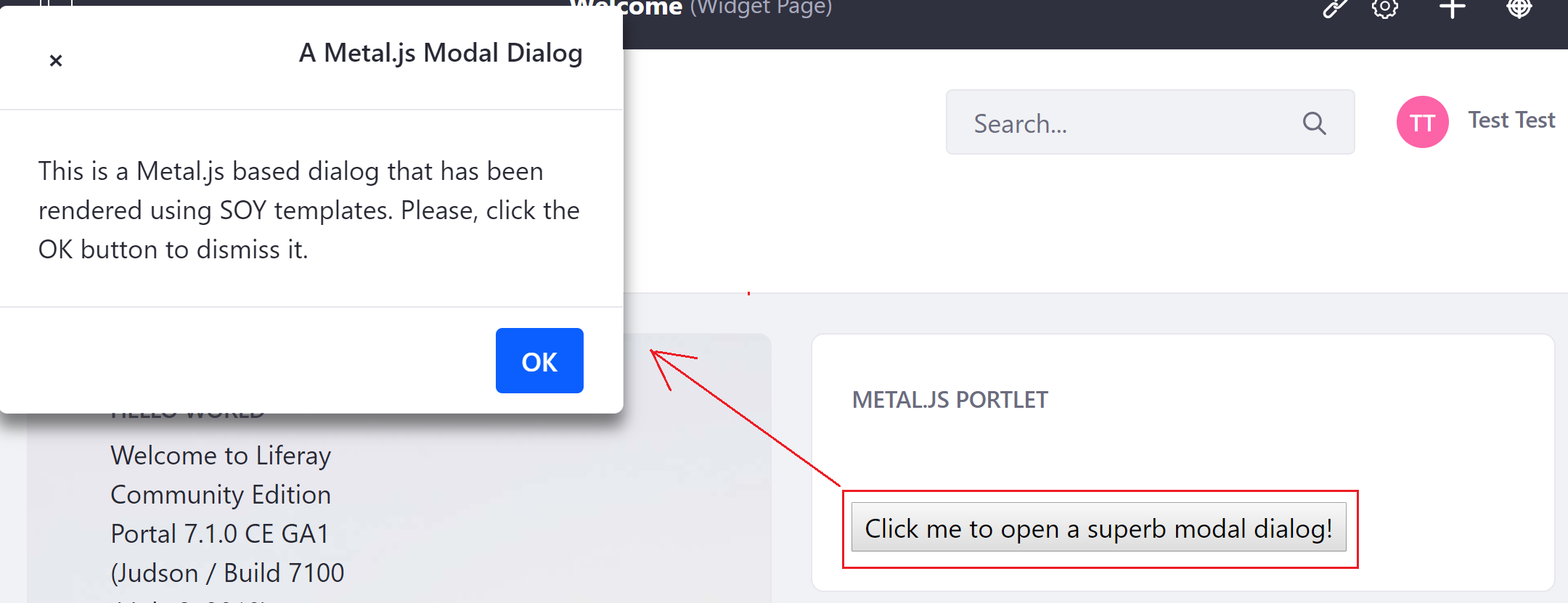 Figure 1: Clicking the button returns displays a dialog window.