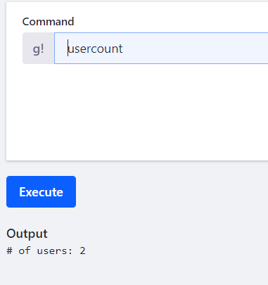 Figure 2: The outcome of executing the usercount command.