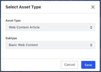 Figure 3: Selecting the Asset type and Subtype.