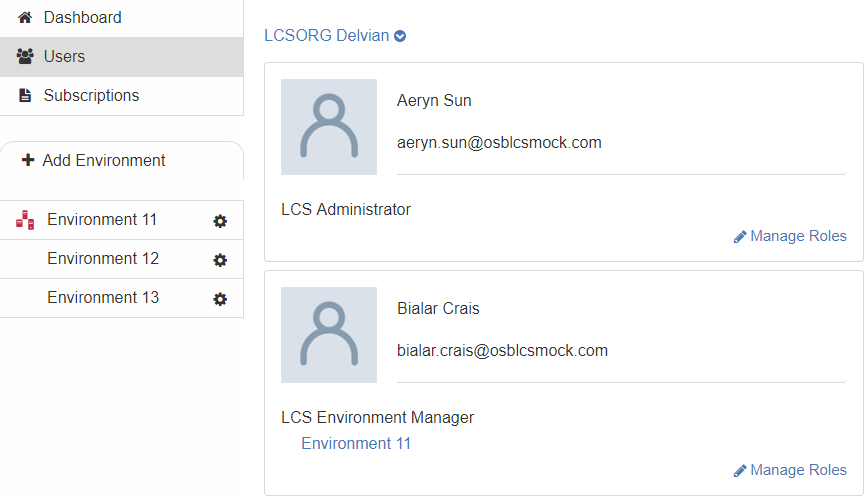 Figure 4.7: The Users tab lets you manage the LCS users in your project.