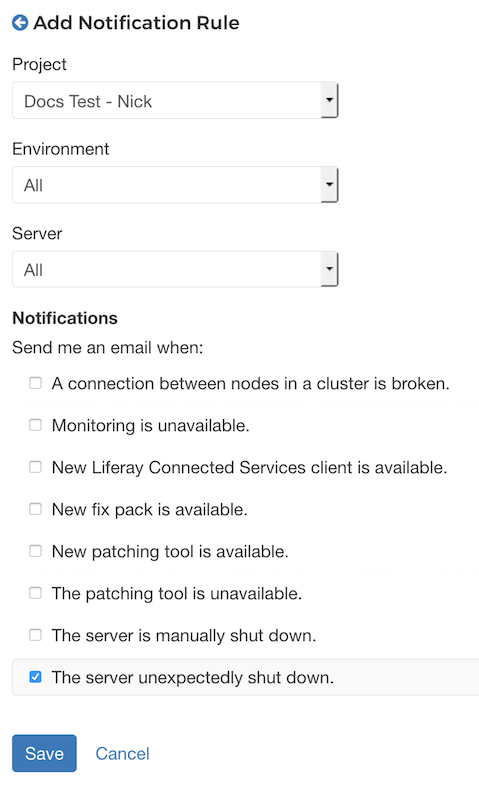 Figure 4.20: You can add rules to determine the events that trigger notifications.