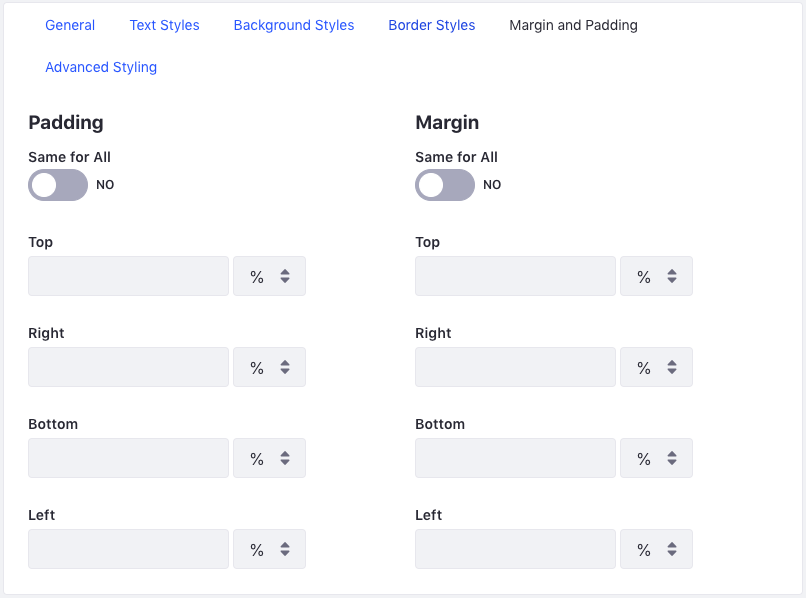 Figure 5: The Margin and Padding tab allows you to specify margin and padding lengths for the sides of your widget.