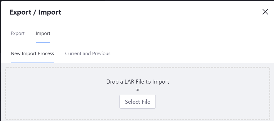 Figure 3: When importing widget data, you can choose a LAR file using the file explorer or drag and drop the file between the dotted lines.
