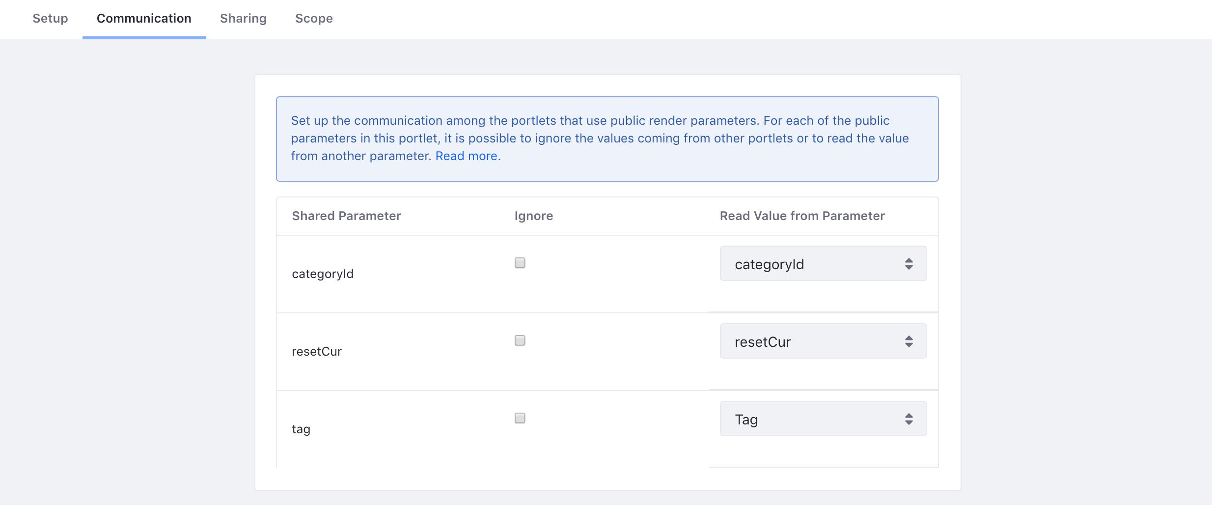 図1:パブリックレンダリングパラメータを使用して相互に通信するようにポートレットを設定できます。