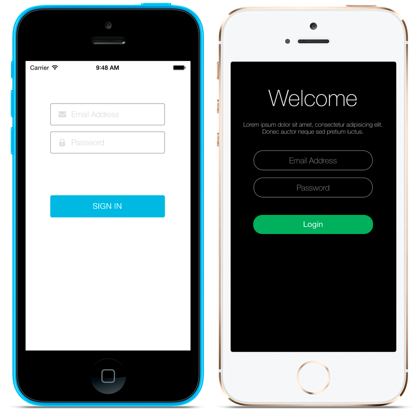 The Login Screenlet using the Default (left) and Flat7 (right) Themes.