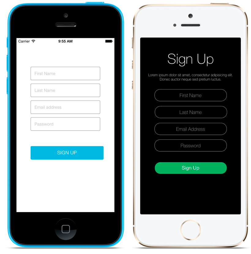 The Sign Up Screenlet with the Default (left) and Flat7 (right) Themes.