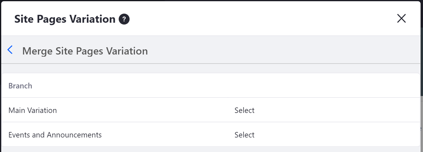 Figure 1: Select the site pages variation youd like to merge with your base variation.
