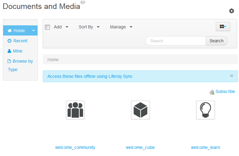 Figure 1.5: Liferay Portals Documents and Media library was purposefully designed to be familiar to anyone who uses a computer.