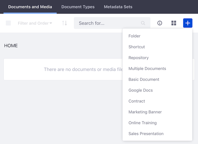 Figure 2: The Documents and Medias Home folder starts empty. But the Add menu lets you upload and add all kinds of documents to the library.