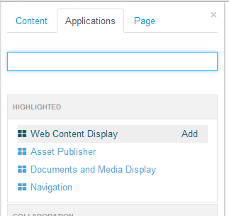 Figure 2.21: Adding the Web Content Display Portlet.