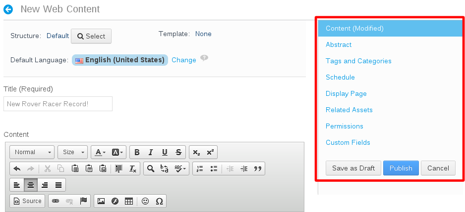Figure 2.19: New web content can be customized in various ways using the menu on the right.