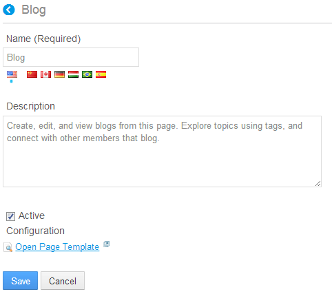 Figure 3.14: The Blog page template is already available for use along with the Content Display Page and Wiki page templates.