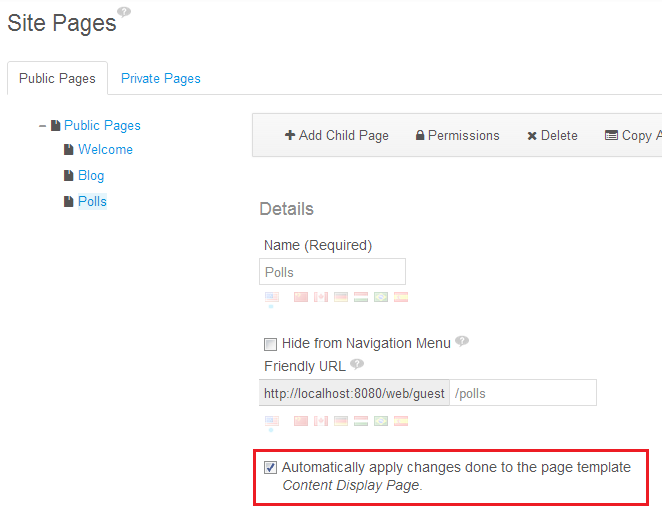 Figure 3.16: You can choose whether or not to automatically apply page template changes to live pages.
