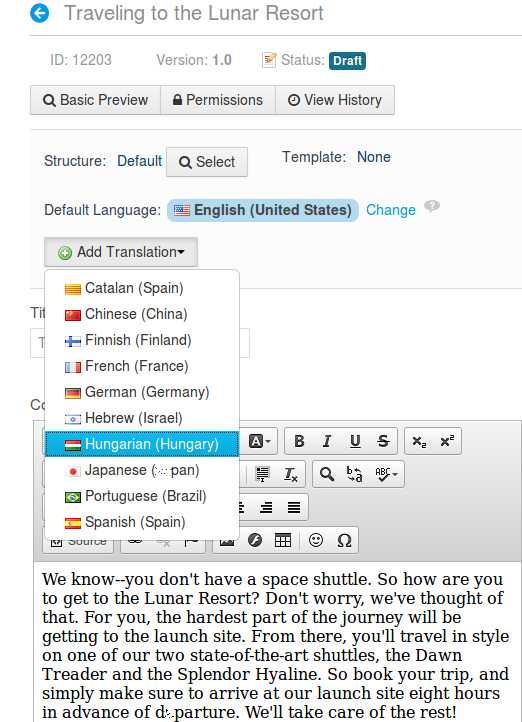 Figure 3.17: You have many translation languages to choose from for your web content.