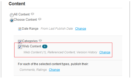 Figure 3.23: Click the Change button and uncheck the version history box to only publish the latest approved version of web content articles that have multiple versions.