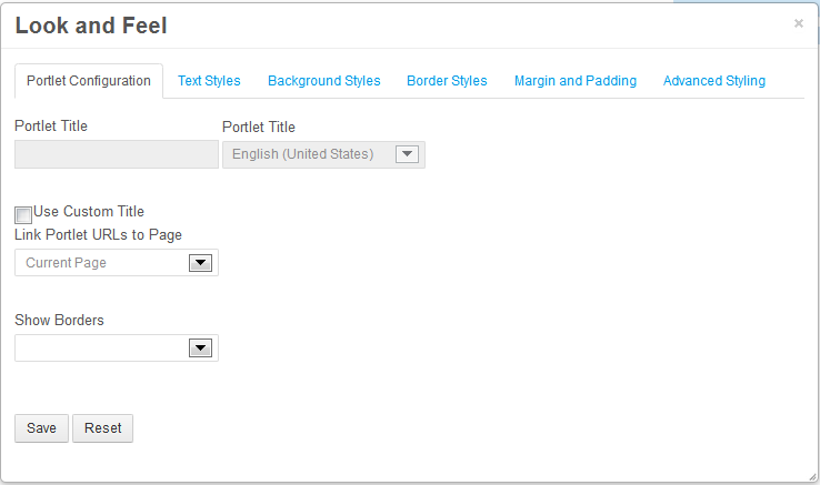 Figure 4.1: The Portlet Configuration tab of the Look and Feel Box allows you to define a custom portlet title, link portlet URLs to a specific page, and select whether or not portlet borders should be displayed.