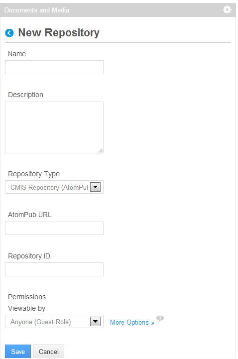 Figure 5.5: You can add a new repository by navigating to Add → Repository in the Documents and Media portlet.