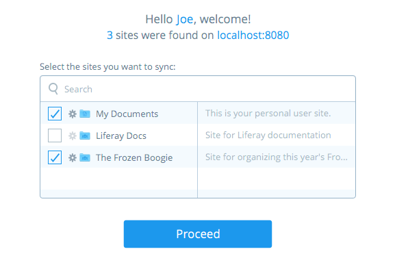 Figure 5.18: Select the sites you want to sync with. Clicking a sites gear icon opens another window where you can choose to sync with only specific subfolders in that site.
