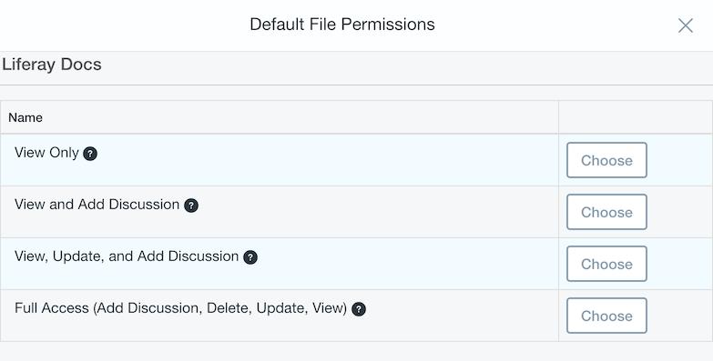 図3:選択をクリックして、同期中のサイトのデフォルトのファイル権限を選択します。