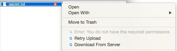 図1:ユーザーがファイルを表示する権限しか持っていないため、アップロードエラーが発生します。