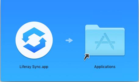 図1:Liferay Syncアイコンをアプリケーションフォルダにドラッグします。