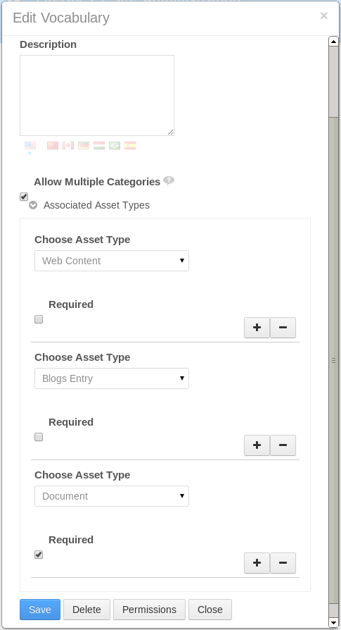 Figure 6.4: You can target vocabularies by checking the Allow Multiple Categories checkbox and then selecting the Asset Types.