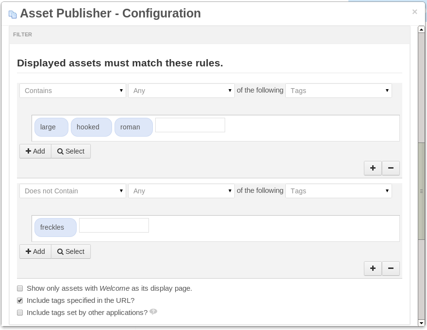 Figure 6.14: You can filter by tags and categories, and you can set up as many filter rules as you need.